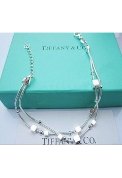 Two Strands Chain with Cubes Bracelet 92.5 Sterling Silver