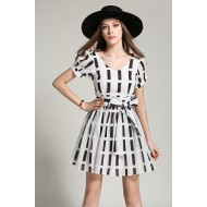 Stripes Dress with Bow Belt