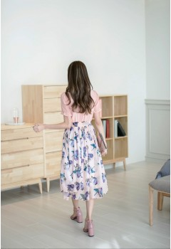 Short Sleeve Chiffon Floral Midi Dress