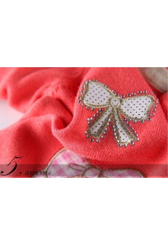 Pink Embroided Bow Patterned Cardigan
