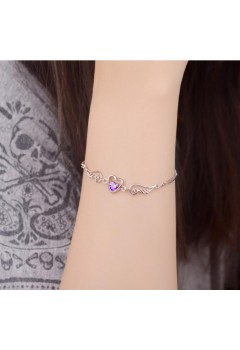 Sakura Heart Wings Bracelet 92.5 Sterling Silver