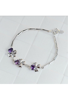 Clover with Stone Bracelet 92.5 Sterling Silver