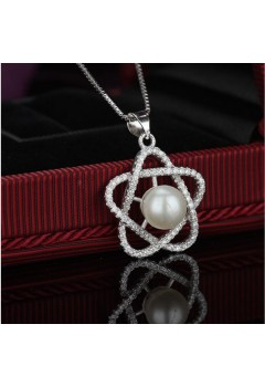 Star Stud Pearl Necklace 92.5 Sterling Silver