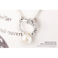 Hello Kitty with Pearl Necklace 92.5 Sterling Silver