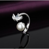 Lotus and Pearl Ring 92.5 Sterling Silver
