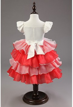 Lovely Flower Organza Multilayered Ball Gown Dress