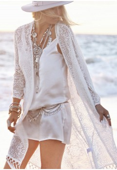 Long Sleeve Lace Tassel Cover-Up