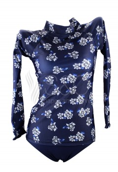 Flowery Two Piece Rash Guards Long Sleeves