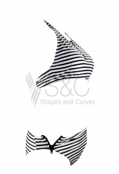 Stripes High Neck Two Piece Swimwear