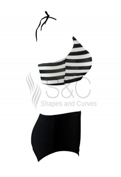 Stripes High Collar Two Piece Swimwear
