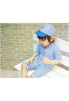 Blue Stripes Kids Swimwear 2pcs Set