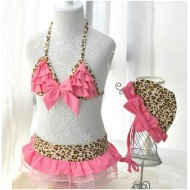 Leopard Tutu Kids Swimsuit 3pcs Set