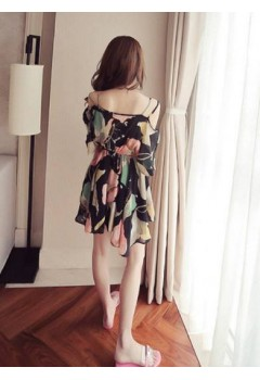 Summer Floral Print Off Shoulder Strap Dress
