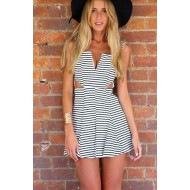 Sexy Stripes Pleated Mini Dress