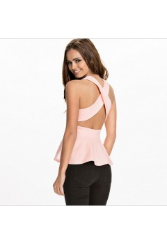 Peplum Criss Cross Back Top