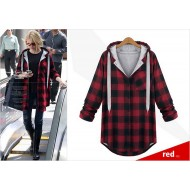 Plaid Drawstring Sweater Hoodie