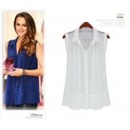 Stylish Shirt Collar Sleeveless