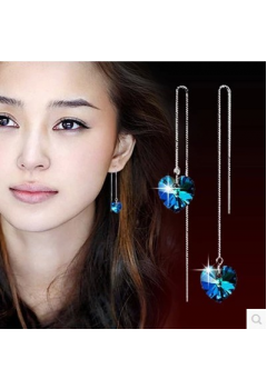 Blue Heart Long Drop Earrings 92.5 Sterling Silver
