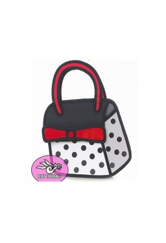 Polka Ribbon Comic 3D Purse HandBag