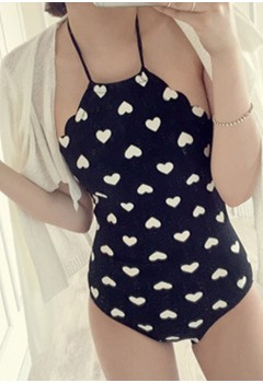 Heart Halter One Piece Swimwear