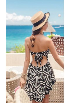 Asymmetrical Halter 2pc Bikini Dress Swimwear