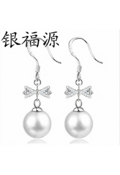 Dangling Pearl with Ribbon Earrings 92.5 Sterling Silver