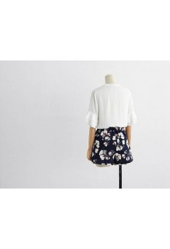 Trumpet Sleeves Top and Floral Shorts