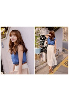 Casual Chiffon and Denim Long Dress
