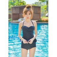 Korean Polka Halter Tankini 2pc Bikini