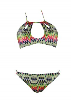 Sexy Chevron Cut Out Two Piece