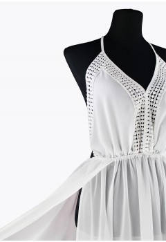 White Elegant Chiffon Halter Long Beach Dress